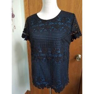 LOFT Blue Black Cotton Lace Short-sleeved Top